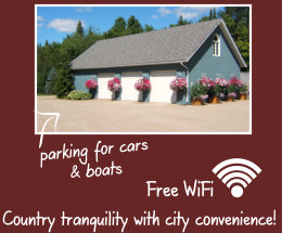 Garage for cars and boats and free Wifi